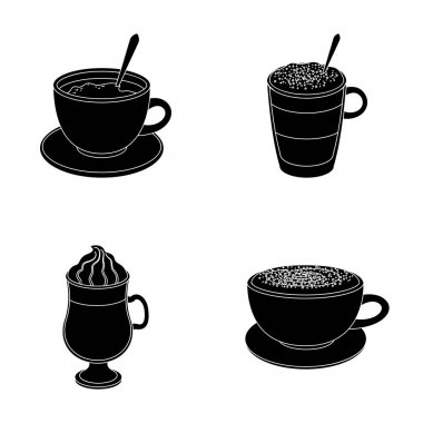 American, late, irish, cappuccino.Different types of coffee set collection icons in black style vector symbol stock illustration web.