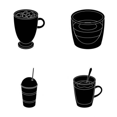 Ristretto, hot chocolate, latte take-away.Different types of coffee set collection icons in black style vector symbol stock illustration web.