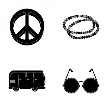 A hippie sign, beads, a bus, round glasses.Hippy set collection icons in black style vector symbol stock illustration web.