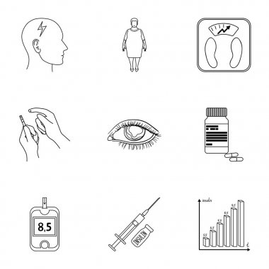 A set of icons about diabetes mellitus. Symptoms and treatment of diabetes. Diabetes icon in set collection on outline style vector symbol stock illustration.