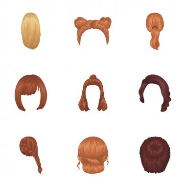 Quads, blond braids and other types of hairstyles. Back hairstyle set collection icons in cartoon style vector symbol stock illustration web.