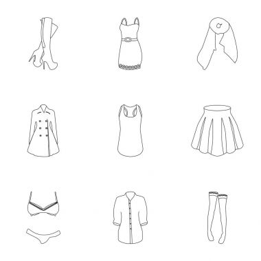Pictures about types of womens clothing. Outerwear and underwear for women and girls. Woman clothes icon in set collection on outline style vector symbol stock illustration.