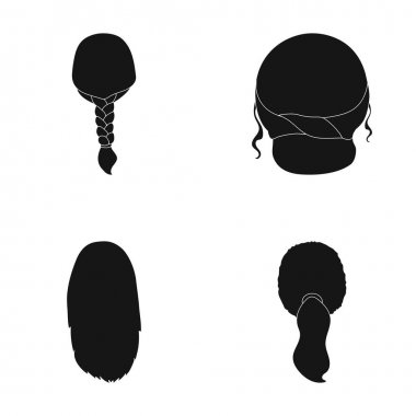 Light braid, fish tail and other types of hairstyles. Back hairstyle set collection icons in black style vector symbol stock illustration web.