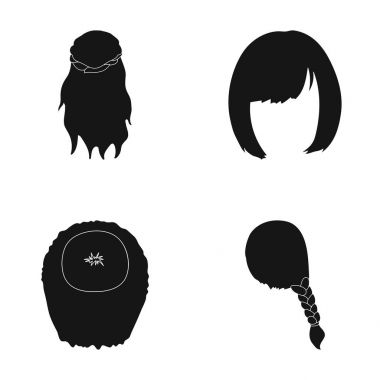Kara, red braid and other types of hairstyles. Back hairstyle set collection icons in black style vector symbol stock illustration web.