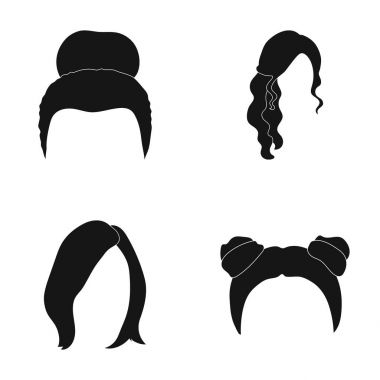 Blond with a bunch, red wavy and other types of hair. Back hair set collection icons in black style vector symbol stock illustration web.