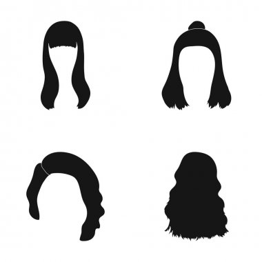Long, red and other types of hairstyles. Back hairstyle set collection icons in black style vector symbol stock illustration web.