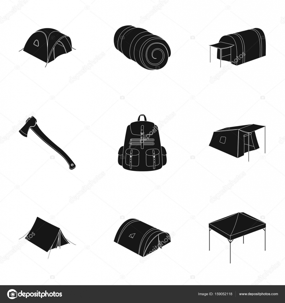 Various kinds of tents and other tourist accessories. The tent set collection icons in black  sc 1 st  Depositphotos & Various kinds of tents and other tourist accessories. The tent set ...