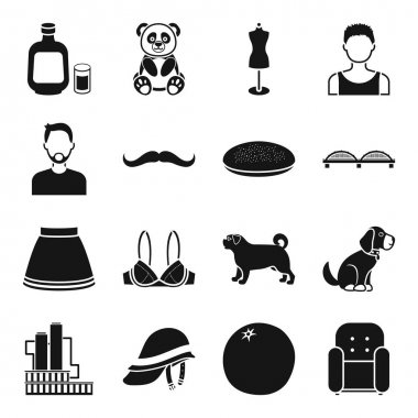 industry, style, animal and other web icon in black style. furniture,clothes,atelier icons in set collection.