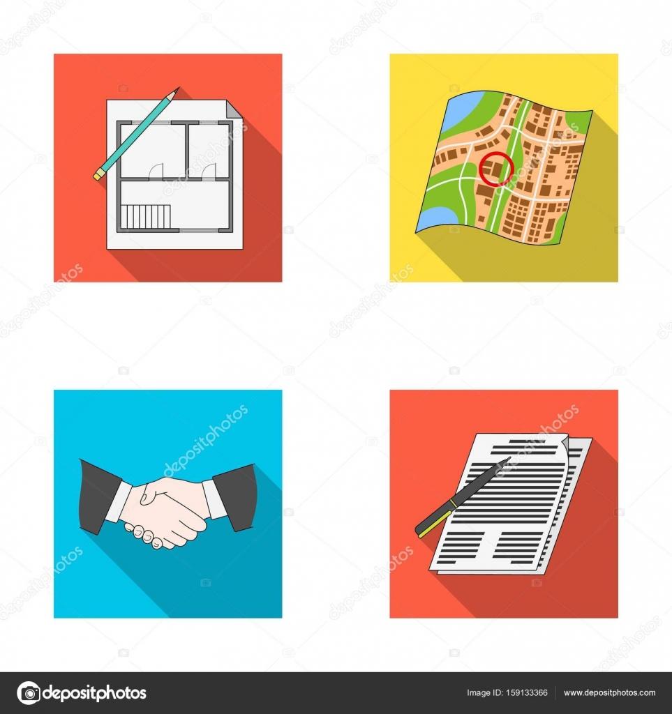 House plan, documents for signing, handshake, terrain plan