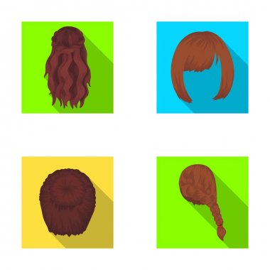 Kara, red braid and other types of hairstyles. Back hairstyle set collection icons in flat style vector symbol stock illustration web.