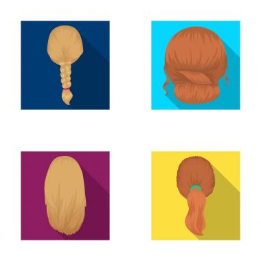 Light braid, fish tail and other types of hairstyles. Back hairstyle set collection icons in flat style vector symbol stock illustration web.