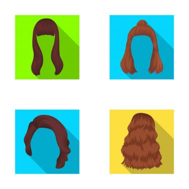 Long, red and other types of hairstyles. Back hairstyle set collection icons in flat style vector symbol stock illustration web.