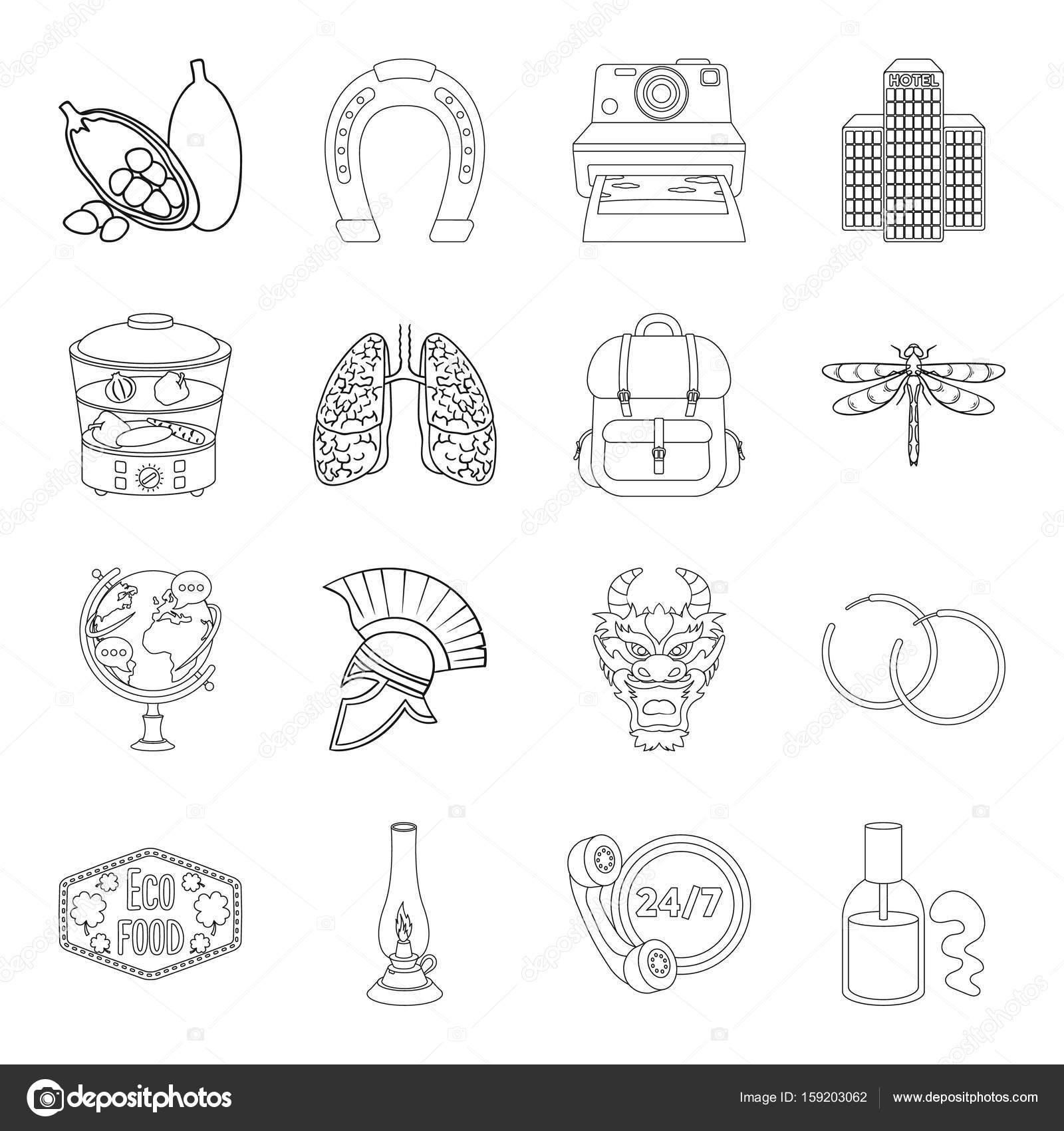 Medizin, Kochen, Reisen Und Andere Symbol Im Umriss Style.training,  Beleuchtung, Taxi Symbole Im Set Sammlung U2014 Vektor Von PandaVector