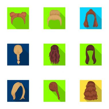 Quads, blond braids and other types of hairstyles. Back hairstyle set collection icons in flat style vector symbol stock illustration web.
