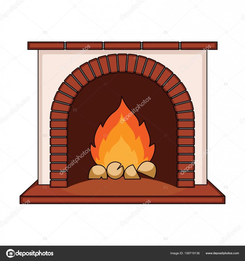 Fireplace Single Icon In Cartoon Style Vector Symbol Stock Illustration