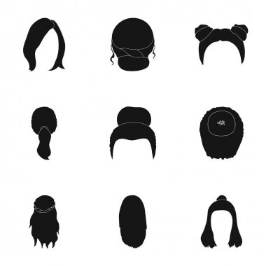 Quads, blond braids and other types of hairstyles. Back hairstyle set collection icons in black style vector symbol stock illustration web.