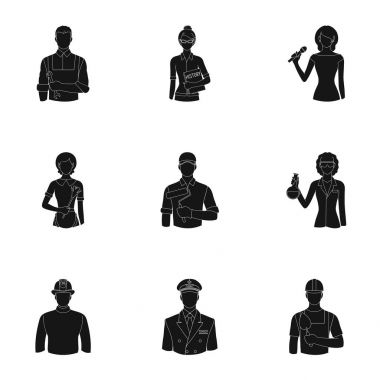 Doctor, worker, military, artist and other types of profession.Profession set collection icons in black style vector symbol stock illustration web.
