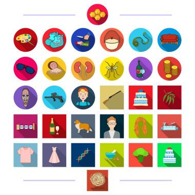 hunting, animals, textiles and other web icon in flat style. rest, medicine, tourism icons in set collection.