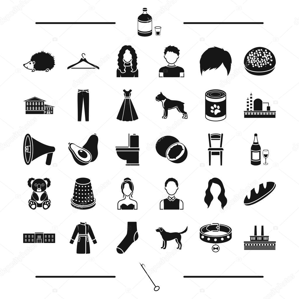 industry, architecture, animal and other web icon in black style.breed, alcohol, atelier icons in set collection.