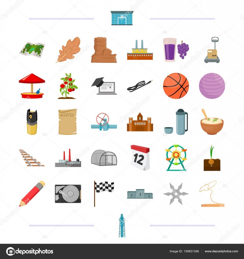00ff4d4e46 Educación, viajes, transporte y otros icono en refinación de style.oil de  dibujos animados, deporte, seguridad iconos de colección set — Vector de ...