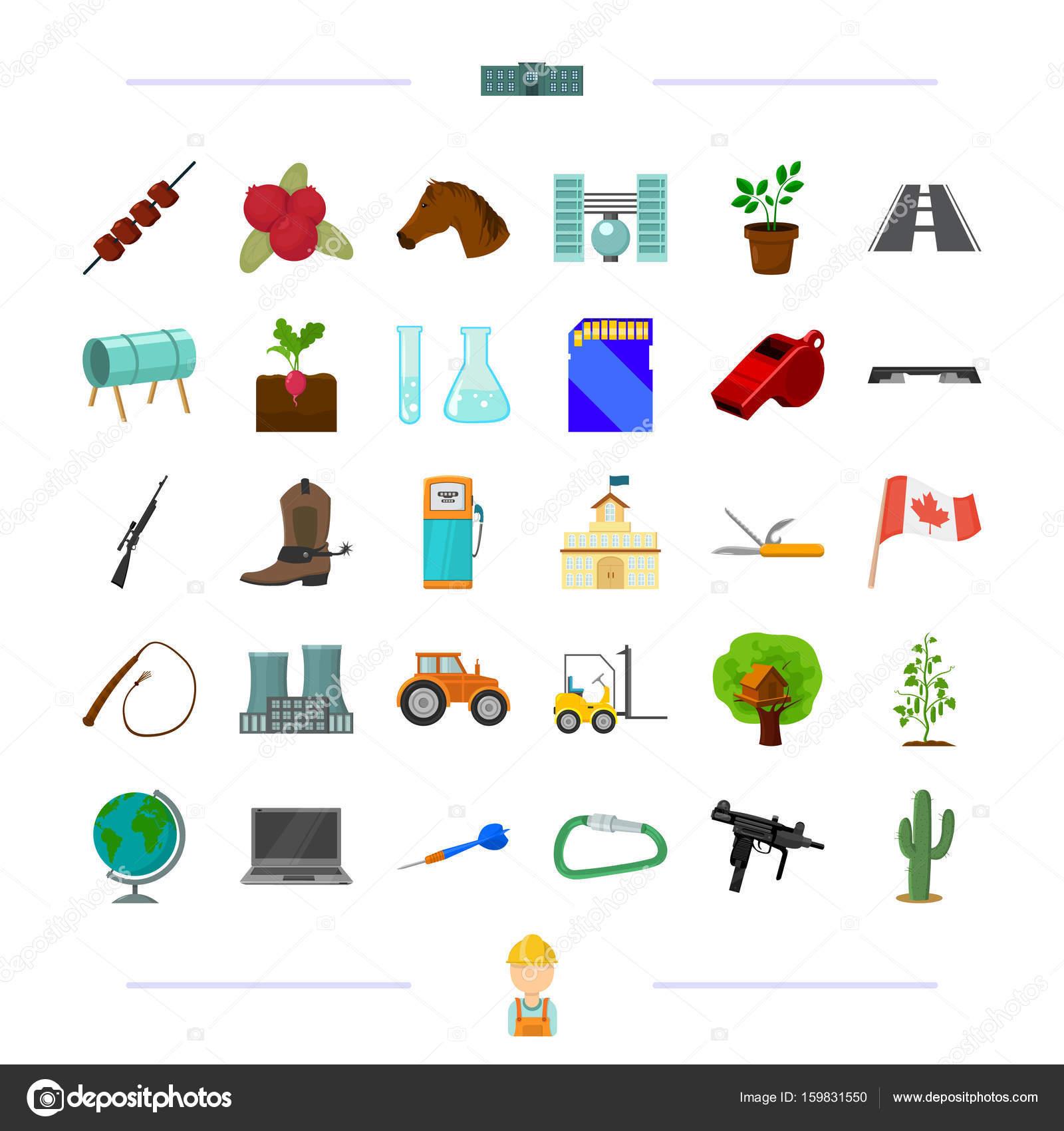 capacitación, transporte, armas y otro icono de la web en cartoon ...