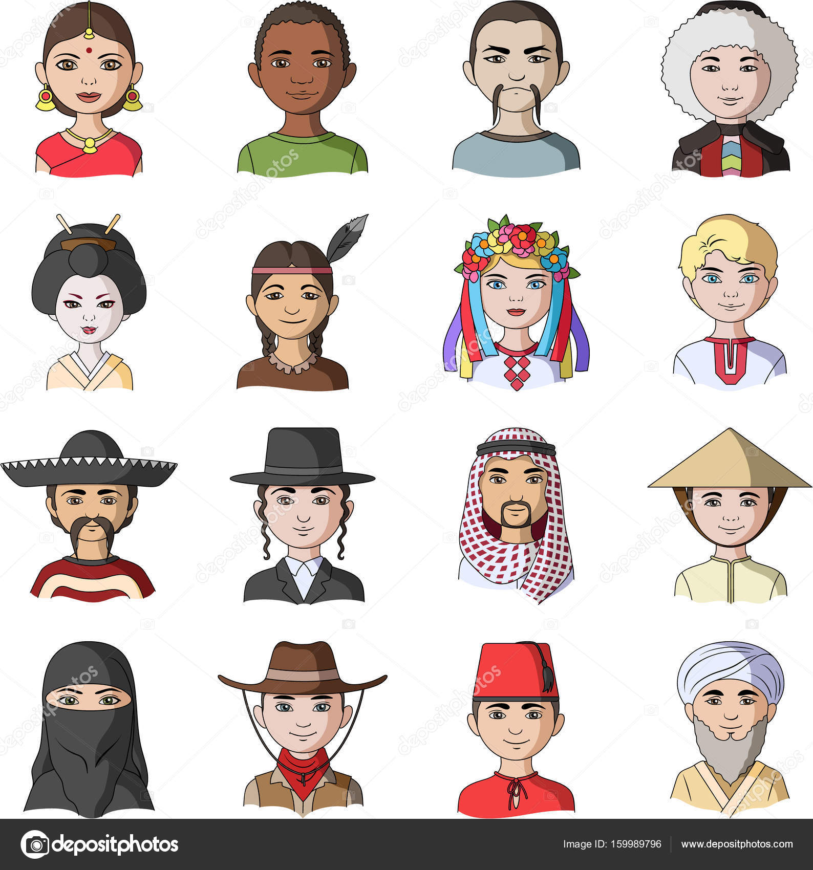 Chinese Russian American Arab Indian Turk And Other Races The