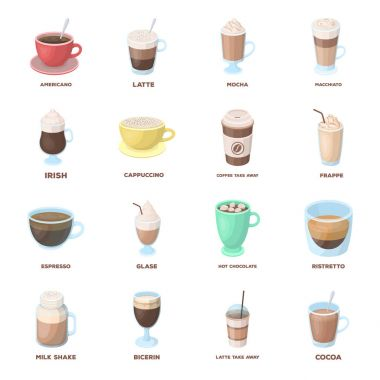 Different types of coffee. Different types of coffee. set collection icons in cartoon style vector symbol stock illustration web.