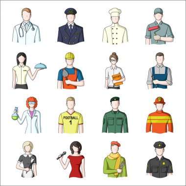 Doctor, worker, military, artist and other types of profession.Profession set collection icons in cartoon style vector symbol stock illustration web.