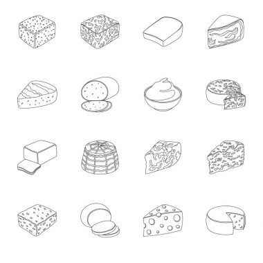 Different types of cheese. Different types of cheese set collection icons in line style vector symbol stock illustration web.