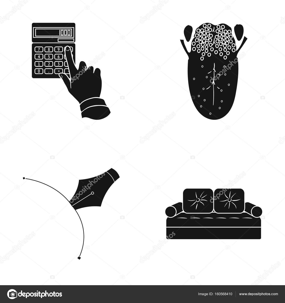 Perfekt Bank, Medizin, Textilien Und Andere Symbol In Schwarzen Style.fabric,  Dekoration, Möbel Icons Set Kollektion U2014 Vektor Von PandaVector