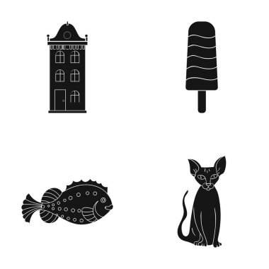 recreation, cafes, tourism and other web icon in black style., cat, domestic, animals, icons in set collection.