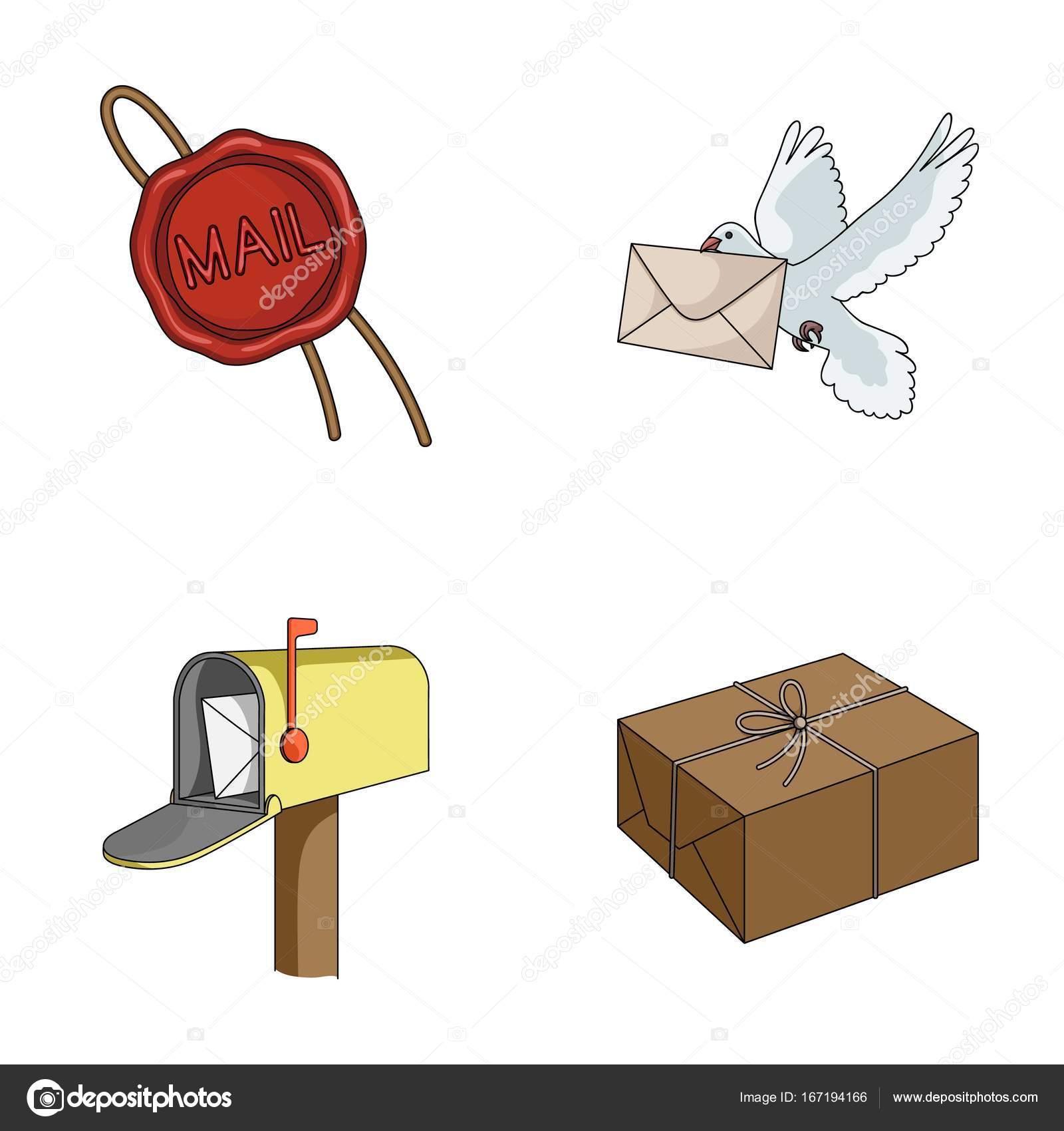 9bda7a5054 Viasz pecsét, boríték, a levélszekrény és a csomagot postai galamb. Mail és  a