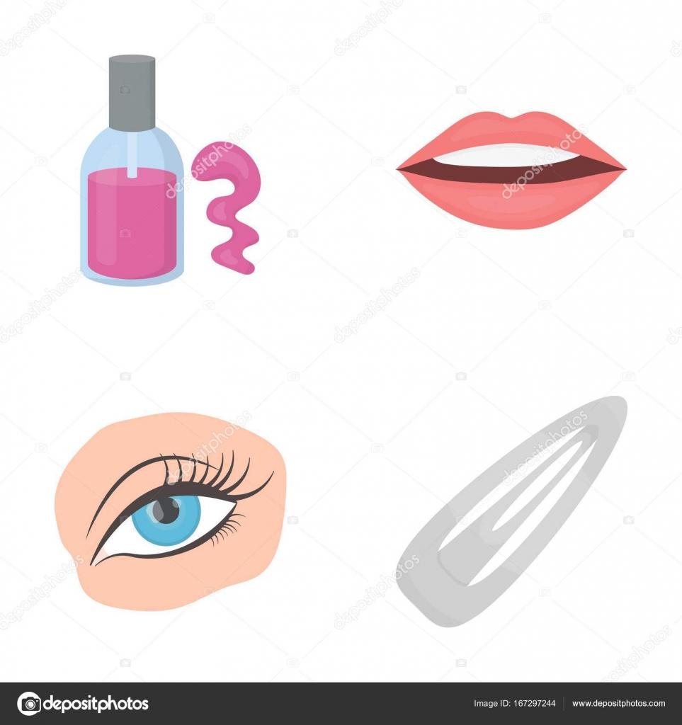 Nagel-Polnisch, getönte Wimpern, Lippen mit Lippenstift, Haarspange ...