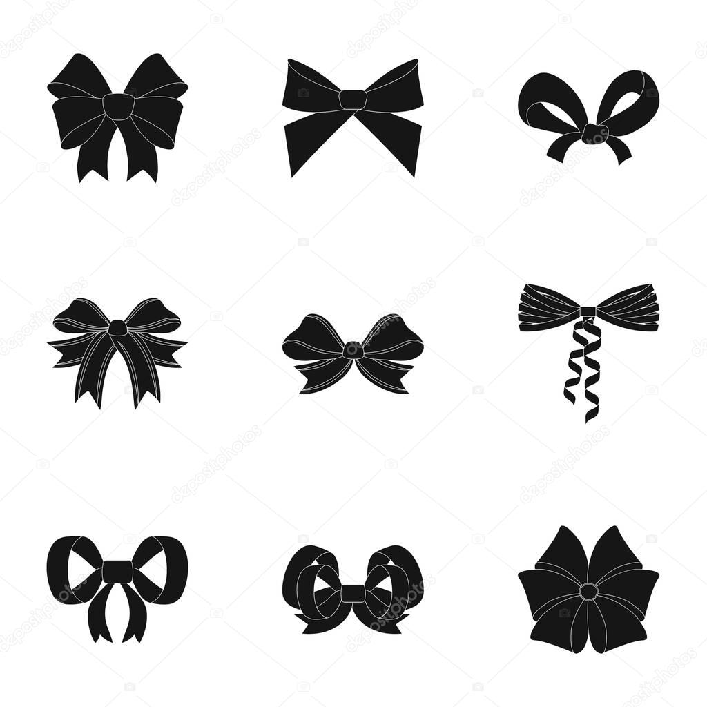 Bow, ribbon, decoration, and other web icon in black style.Giftbows, node, ornamentals, icons in set collection.