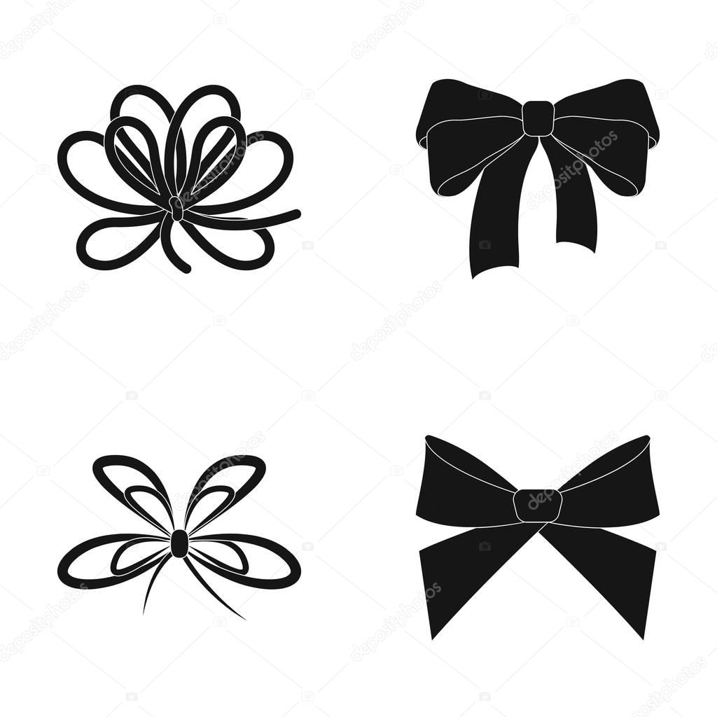 Bow, ribbon, decoration, and other web icon in black style. Gift, bows, node, icons in set collection.