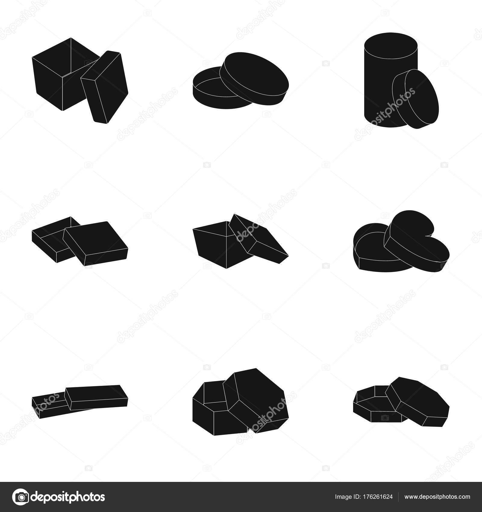 Box, Paket, Verpackung und andere Web-Symbol im schwarzen Stil ...