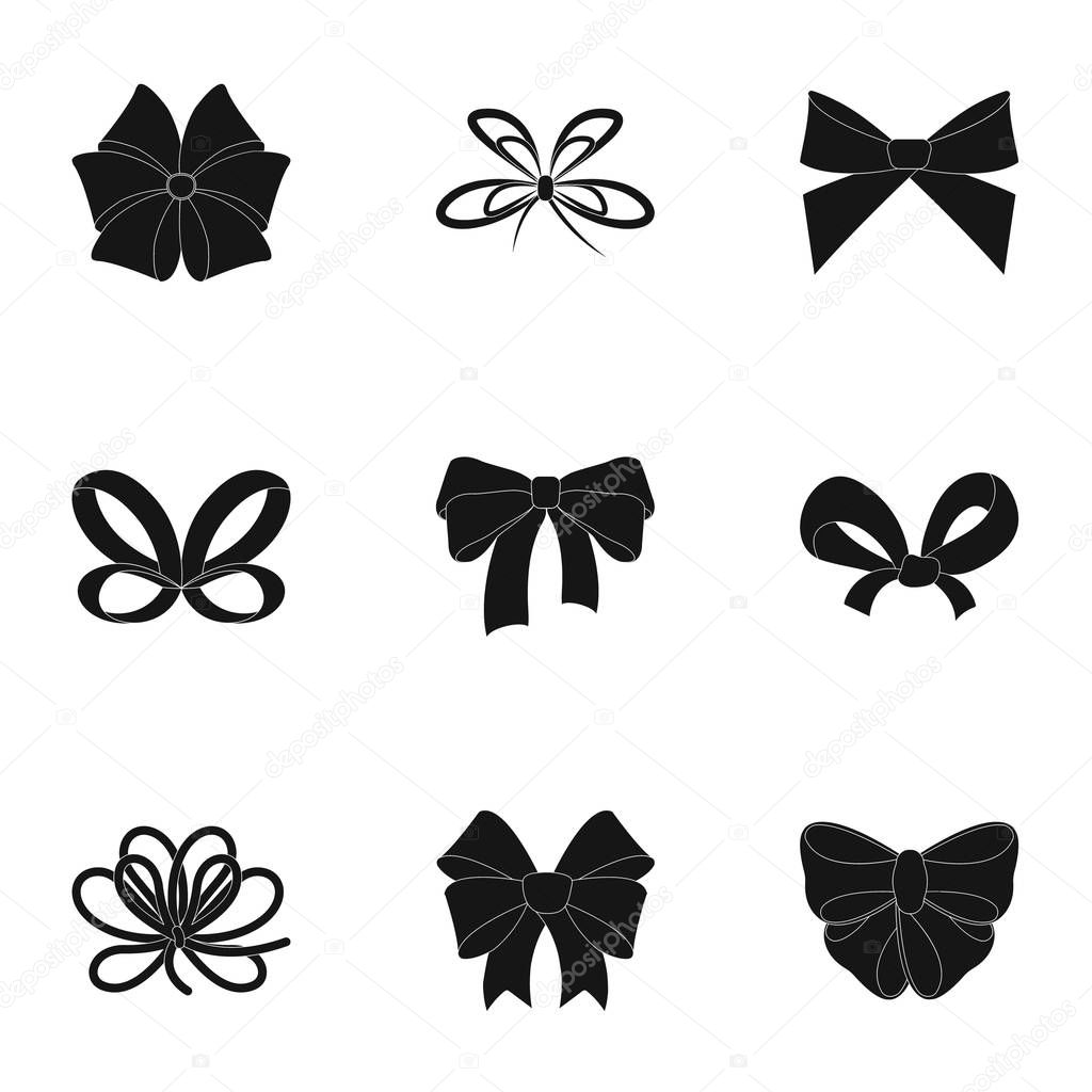 Decor, bows, node, and other web icon in black style.Bow, ribbon, decoration, icons in set collection.
