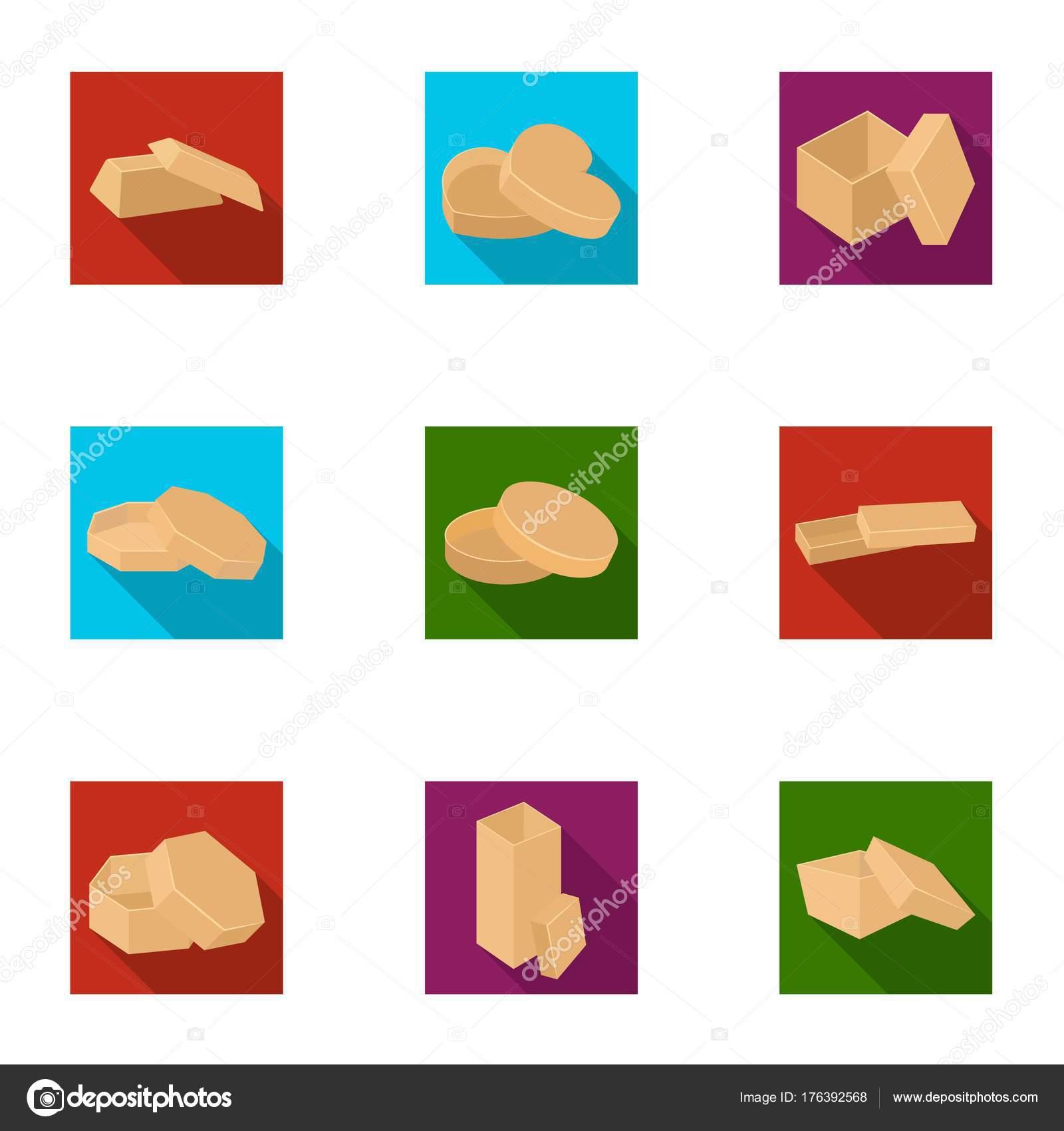 Box, Paket, Verpackung und andere Web-Symbol im flachen Stil. Schale ...