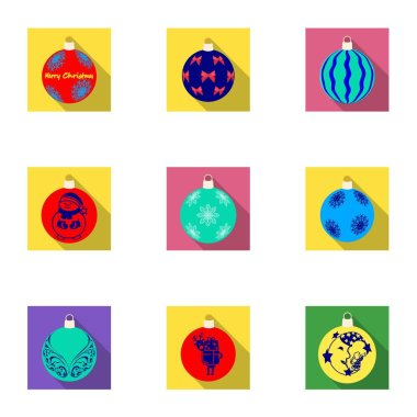 Toys for a Christmas tree flat icons in set collection for design.New Year ballsvector symbol stock web illustration.