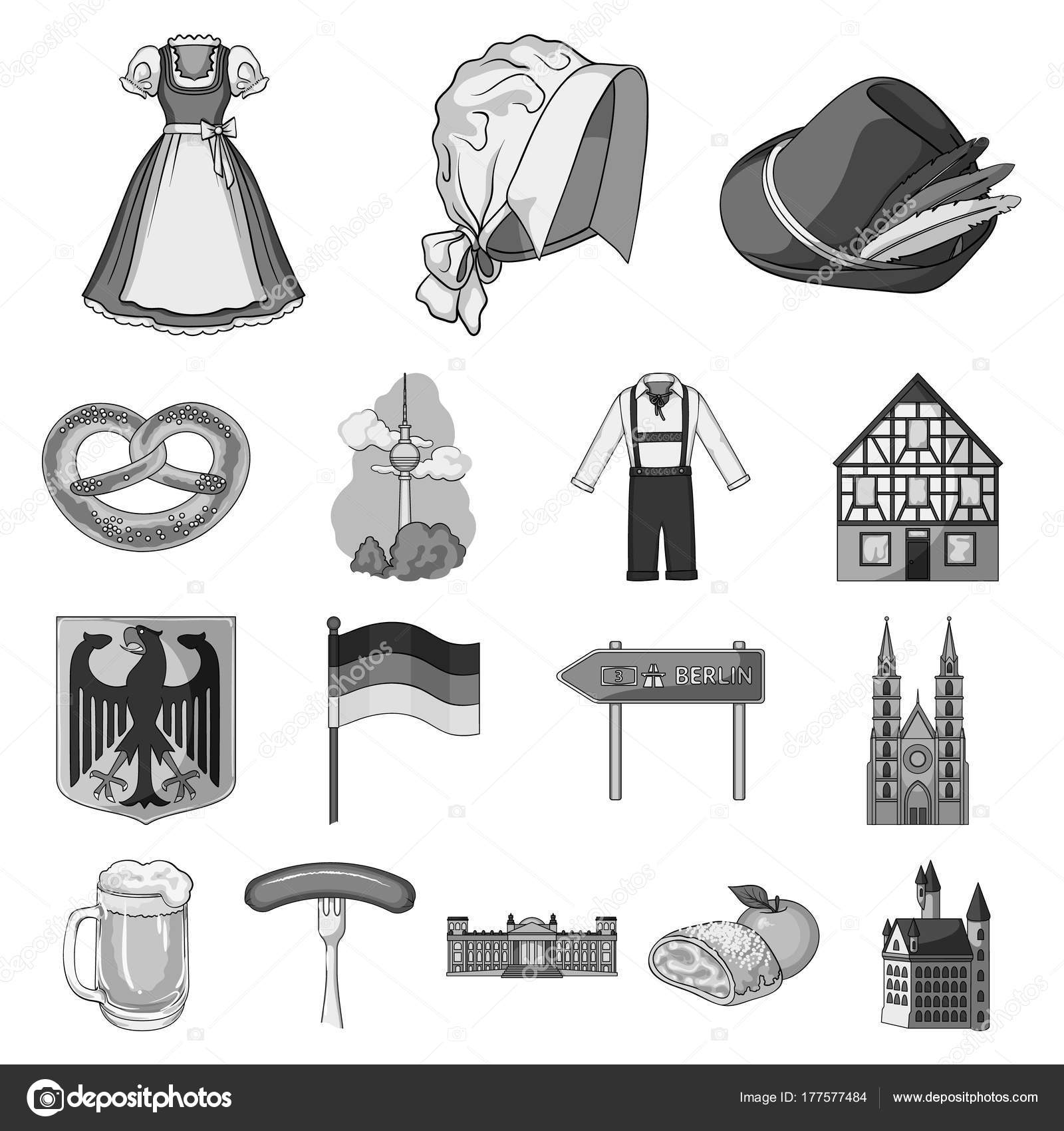 Country Germany Monochrome Icons In Set Collection For Design