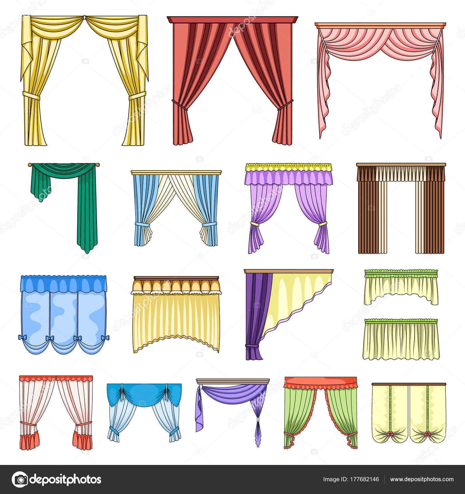Diferentes tipos de cortinas de dibujos animados iconos de colecci n set de dise o cortinas y - Diferentes tipos de cortinas ...