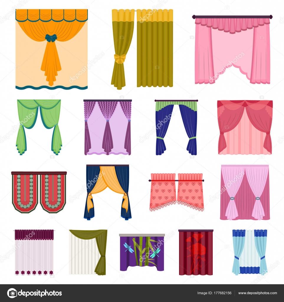 Verschillende soorten gordijnen cartoon pictogrammen in set ...