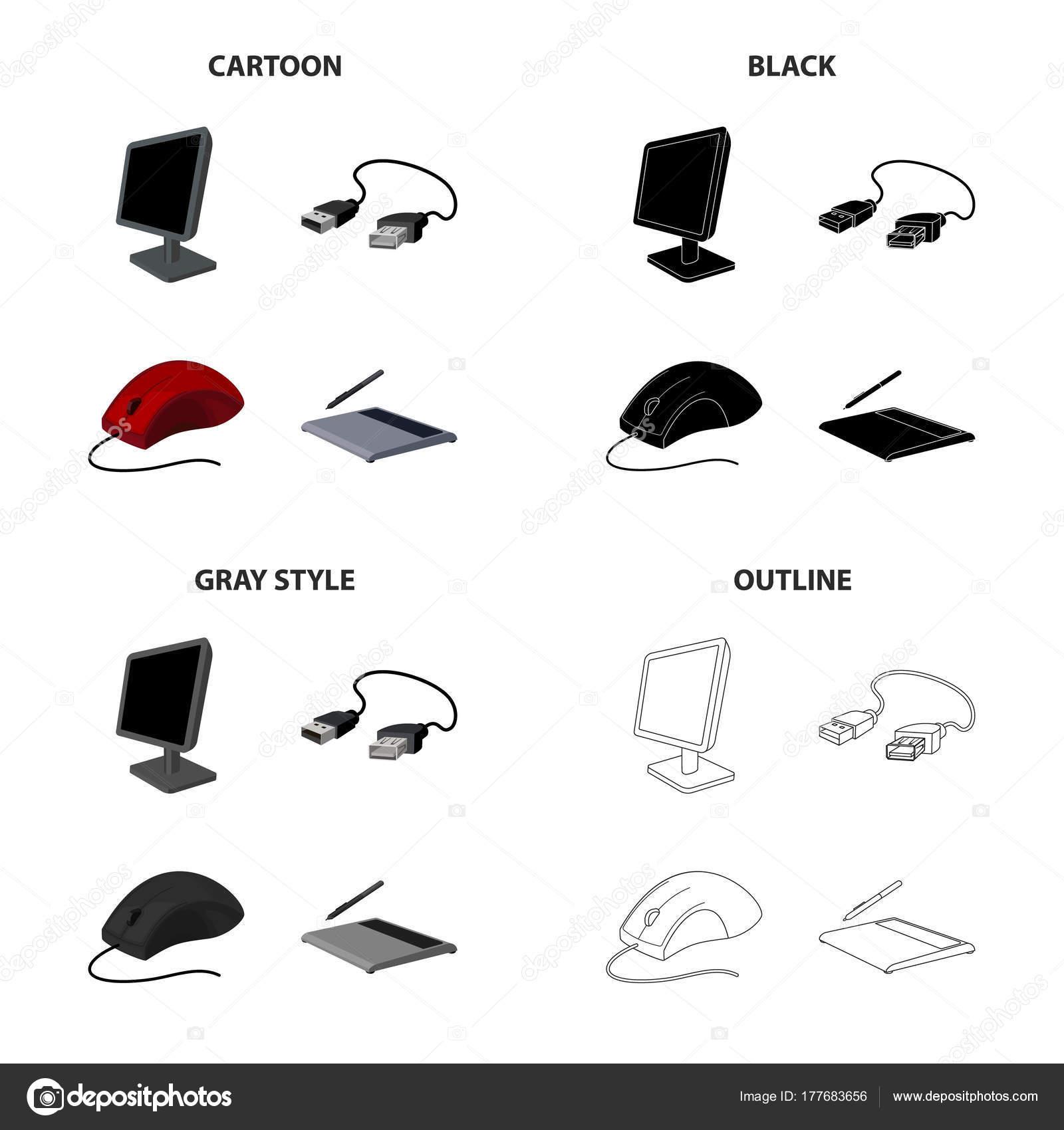 Computer-Ausrüstung-Monitor, USB-Kabel, Computer-Maus, Grafiktablett ...