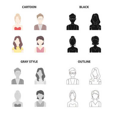 The face of a girl with a hairdo, the appearance of a man with glasses, a young girl. Face and appearance set collection icons in cartoon black monochrome outline style vector symbol stock