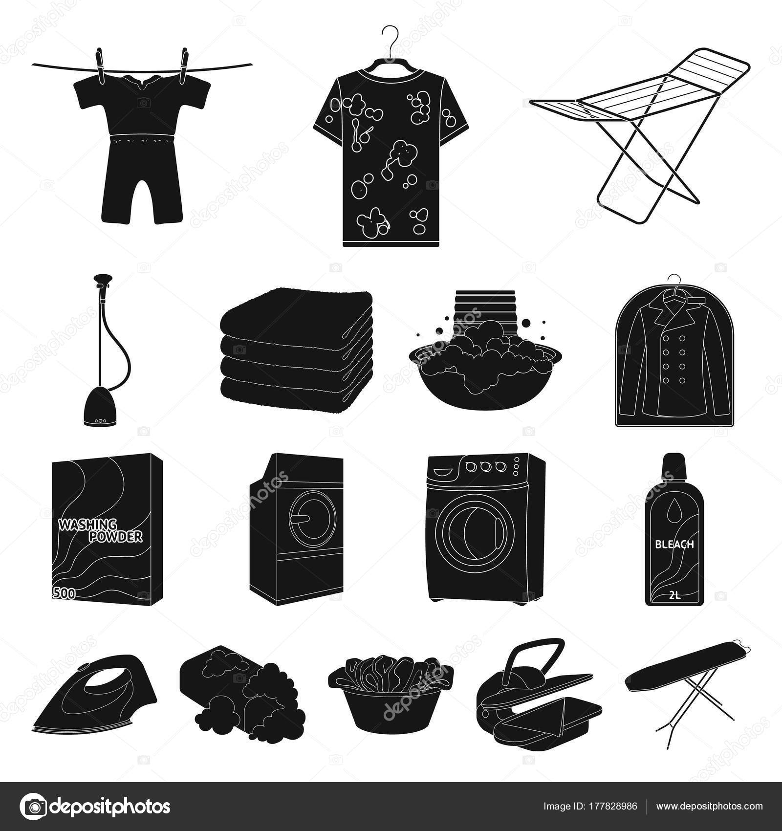 Dry Cleaning Equipment Black Icons In Set Collection For Design