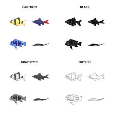 Different types of aquarium and sea fish, barbeque, stingray. A fish set collection icons in cartoon black monochrome outline style vector symbol stock illustration web.