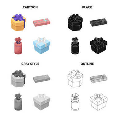 Different types of gift wrapping. Ribbon, bow and packing set collection icons in cartoon black monochrome outline style vector symbol stock isometric illustration web.