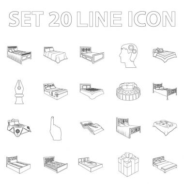 Different beds outline icons in set collection for design. Furniture for sleeping vector isometric symbol stock web illustration.