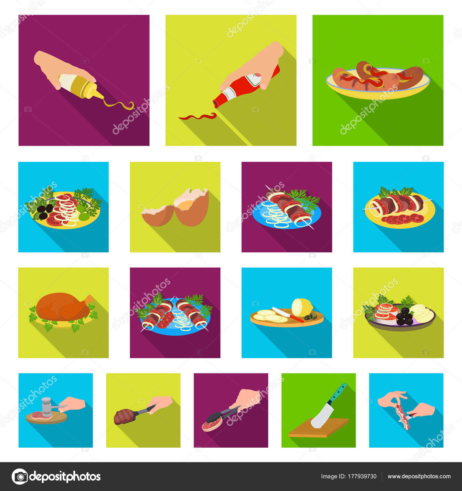 Cocina comida plana los iconos de colección set de diseño. Cocina ...