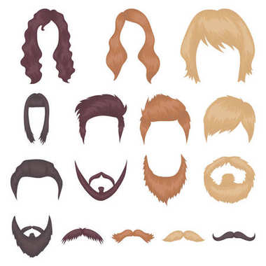 Mustache and beard, hairstyles cartoon icons in set collection for design. Stylish haircut vector symbol stock web illustration.